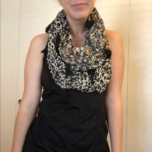 Patterned Infinity Scarf with Tassels